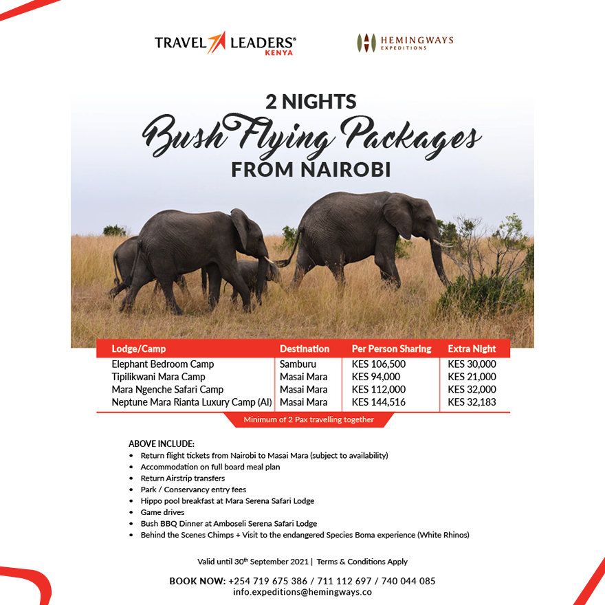 2 Nights Bush Flying Packages From Nairobi Offer